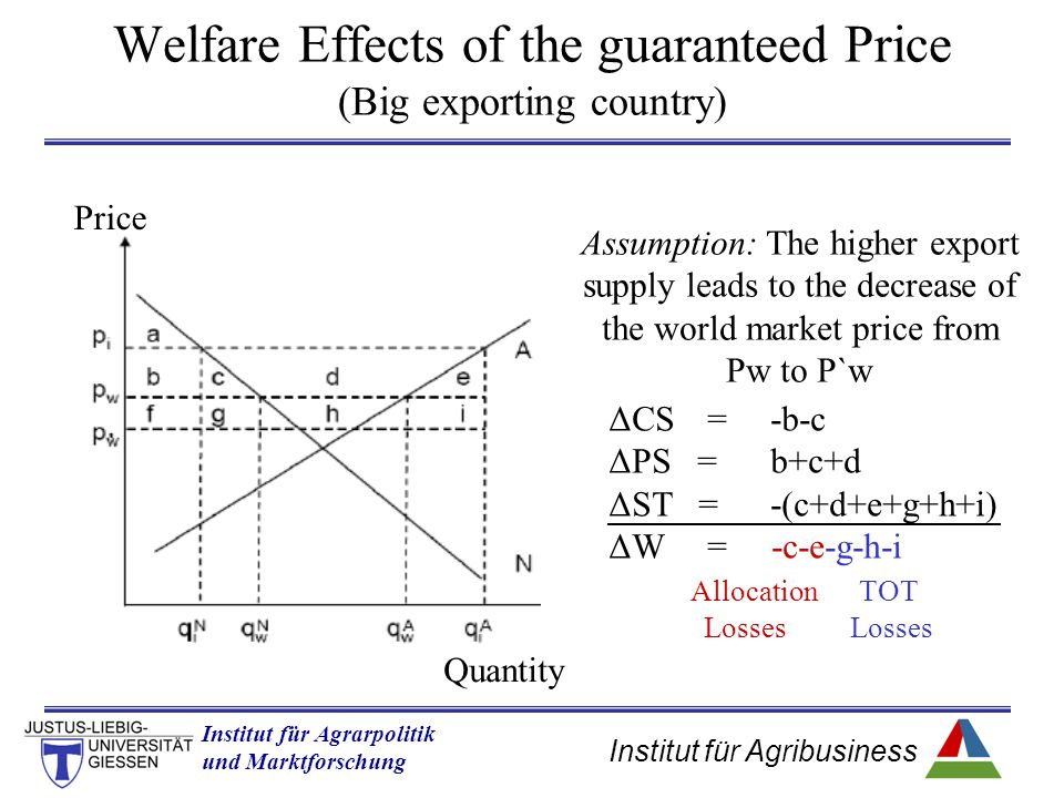 Welfare Effects of the guaranteed Price (Big exporting country)