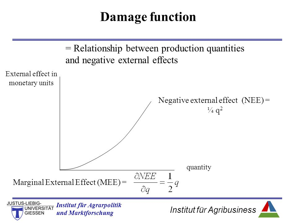 Damage function = Relationship between production quantities and negative external effects. External effect in monetary units.