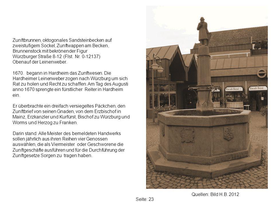 Zunftbrunnen, oktogonales Sandsteinbecken auf zweistufigem Sockel, Zunftwappen am Becken, Brunnenstock mit bekrönender Figur