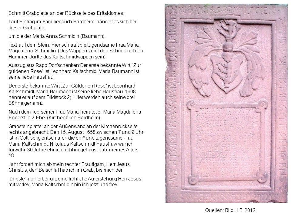 Schmitt Grabplatte an der Rückseite des Erftaldomes: