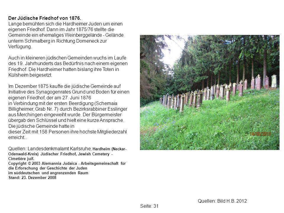 Der Jüdische Friedhof von 1876.