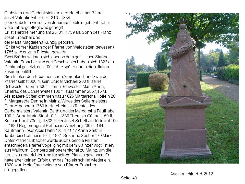Grabstein und Gedenkstein an den Hardheimer Pfarrer
