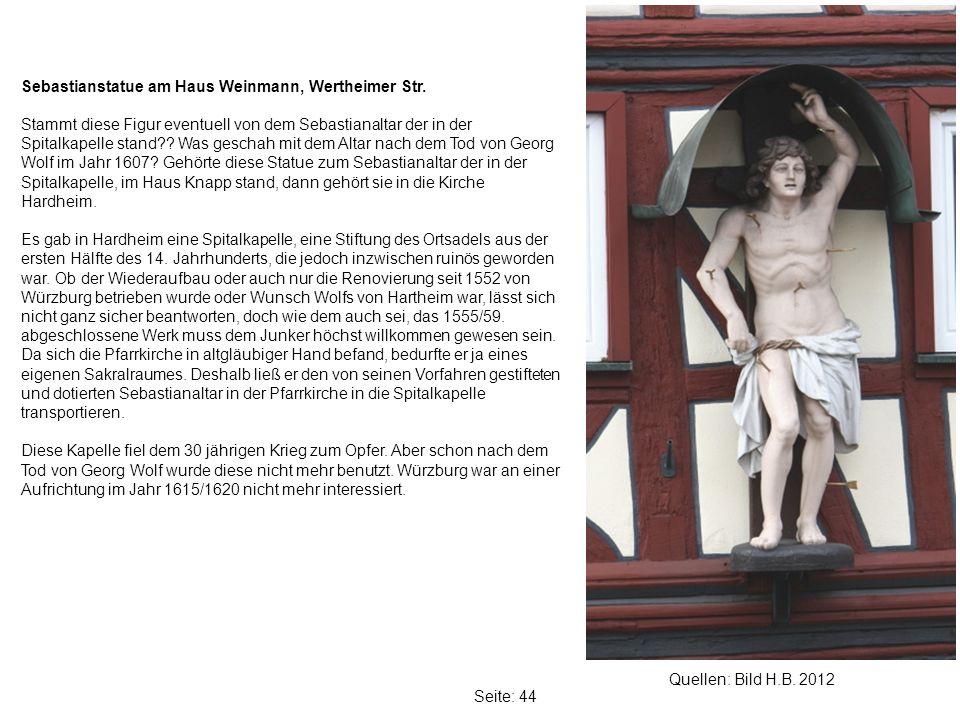 Sebastianstatue am Haus Weinmann, Wertheimer Str.