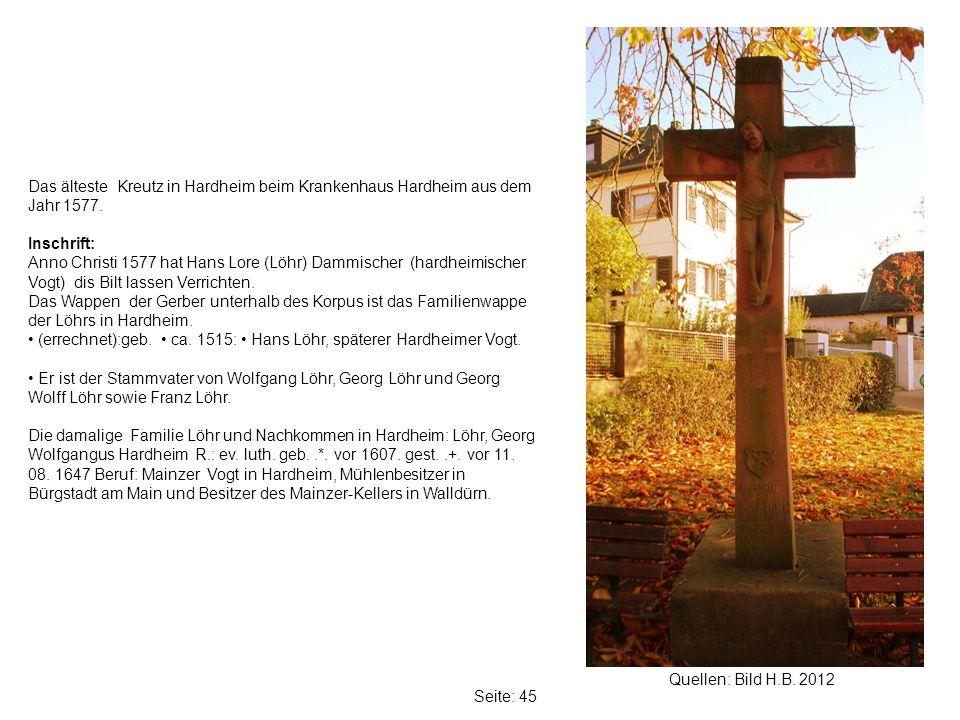Das älteste Kreutz in Hardheim beim Krankenhaus Hardheim aus dem Jahr 1577.