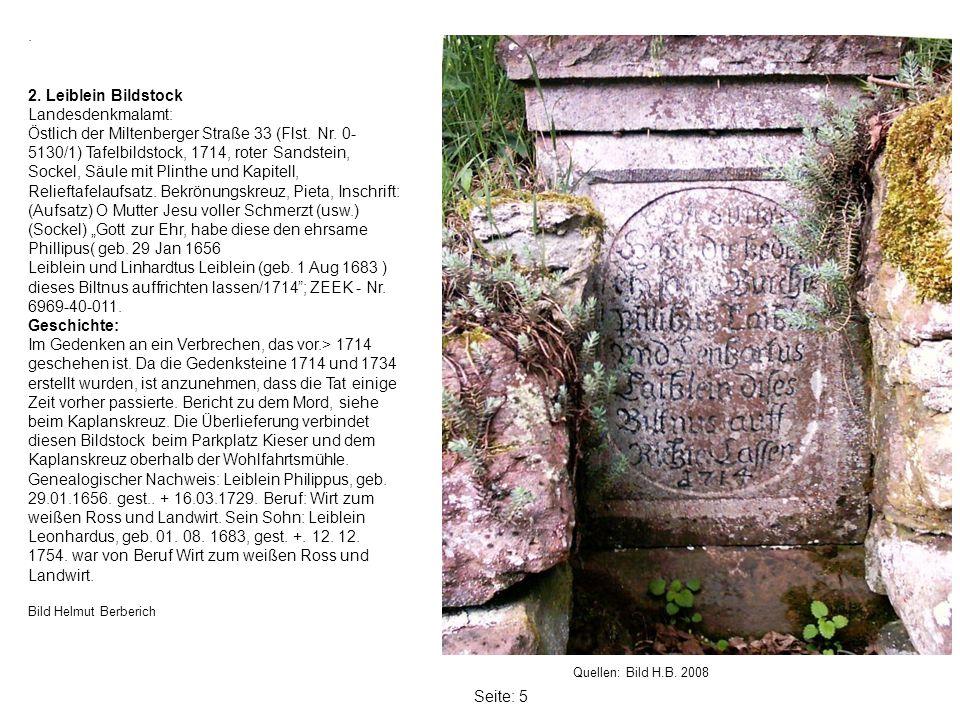 . 2. Leiblein Bildstock Landesdenkmalamt: