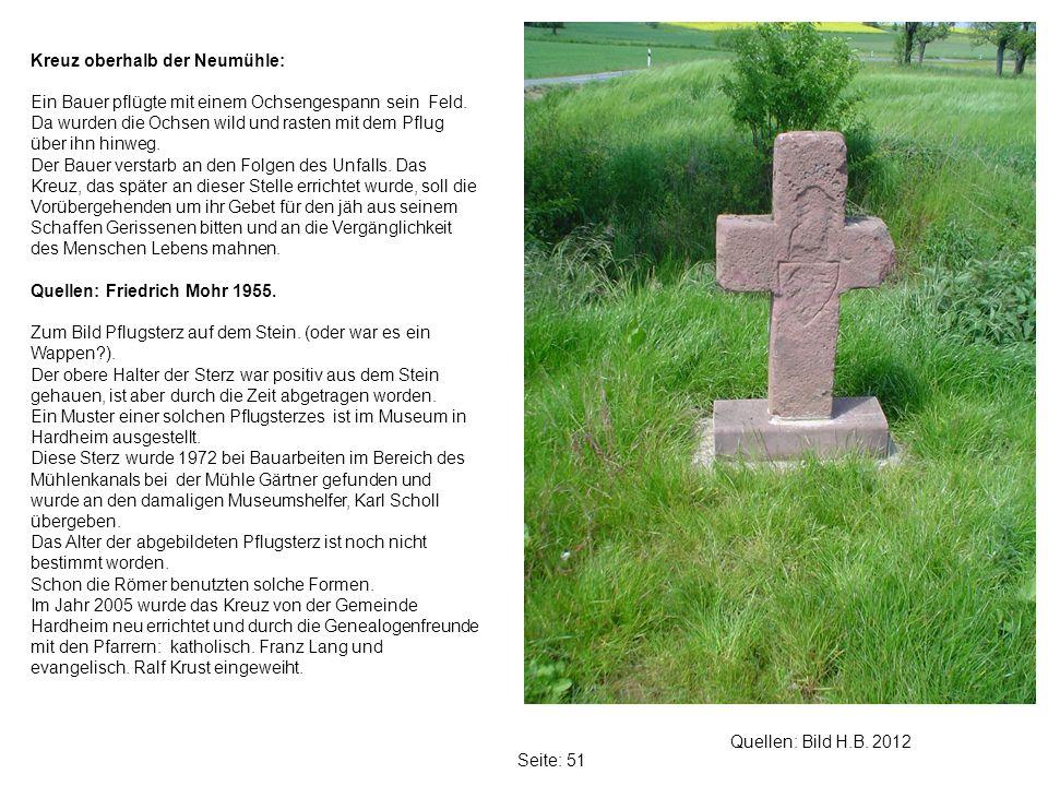 Kreuz oberhalb der Neumühle: