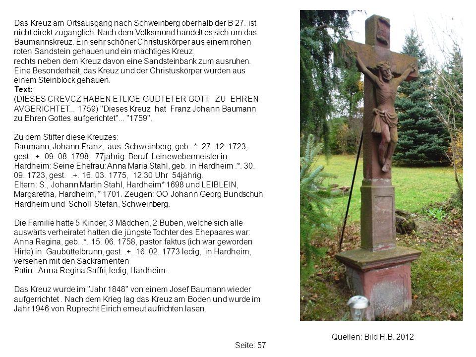 Das Kreuz am Ortsausgang nach Schweinberg oberhalb der B 27