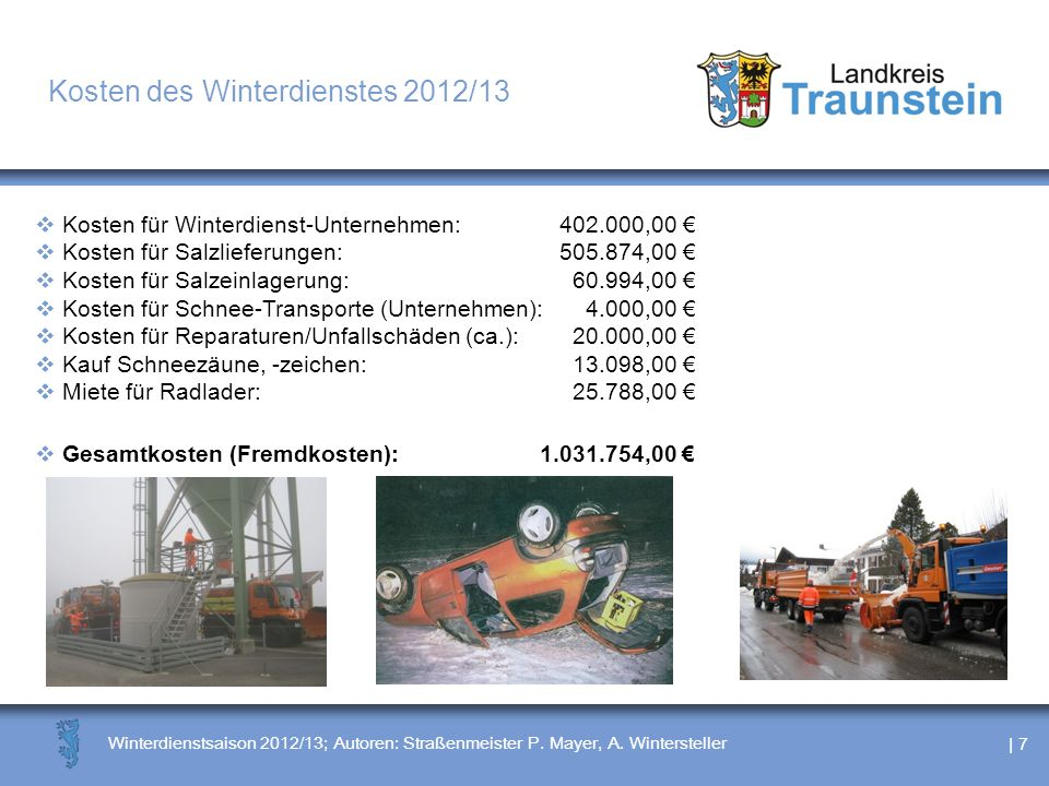 Kosten des Winterdienstes 2012/13