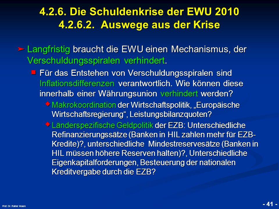 4.2.6. Die Schuldenkrise der EWU 2010 4.2.6.2. Auswege aus der Krise