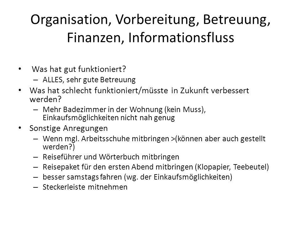 Organisation, Vorbereitung, Betreuung, Finanzen, Informationsfluss