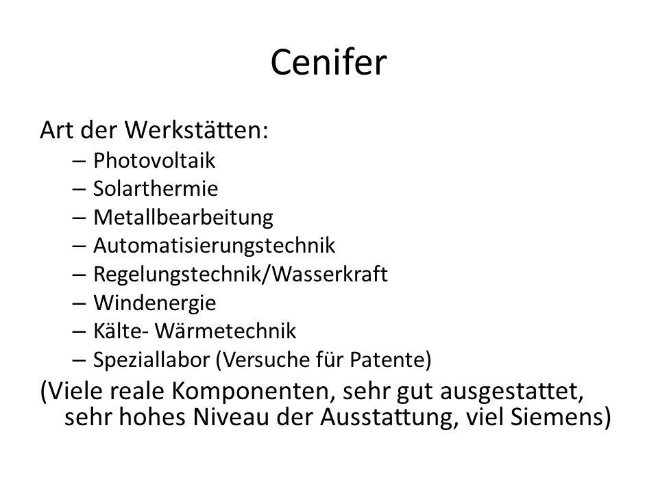 Cenifer Art der Werkstätten: