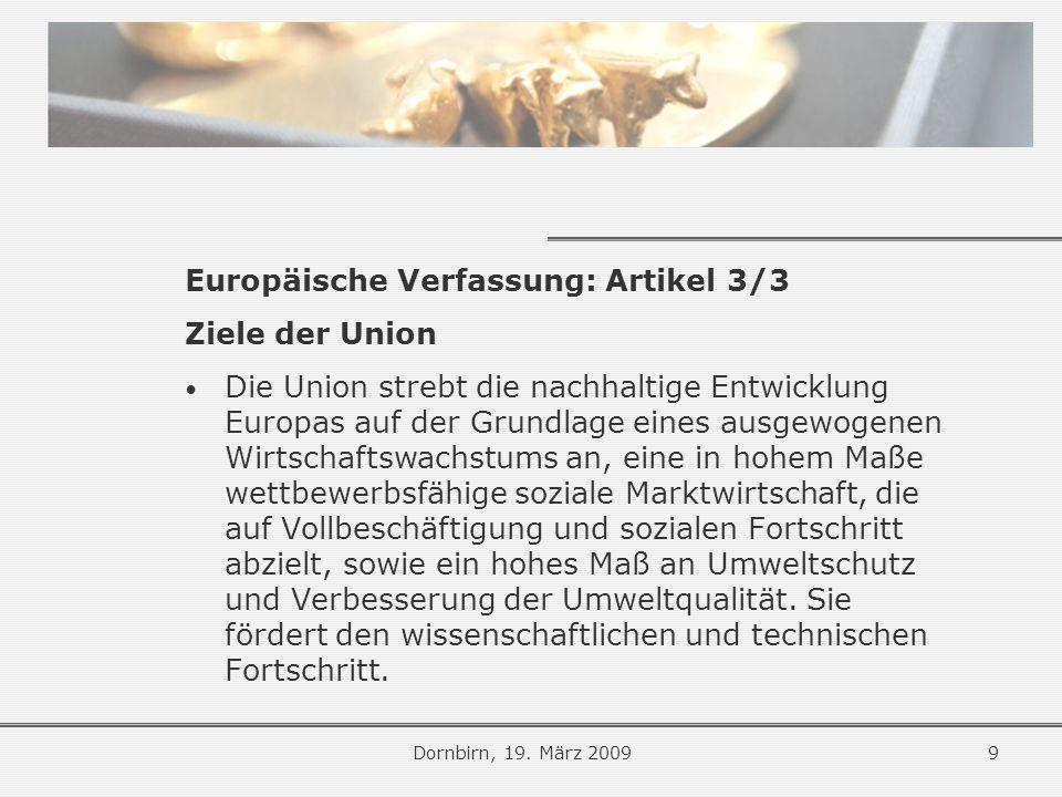 Europäische Verfassung: Artikel 3/3 Ziele der Union