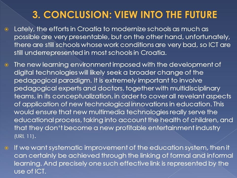 3. CONCLUSION: VIEW INTO THE FUTURE