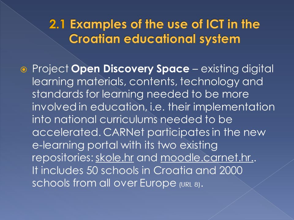 2.1 Examples of the use of ICT in the Croatian educational system
