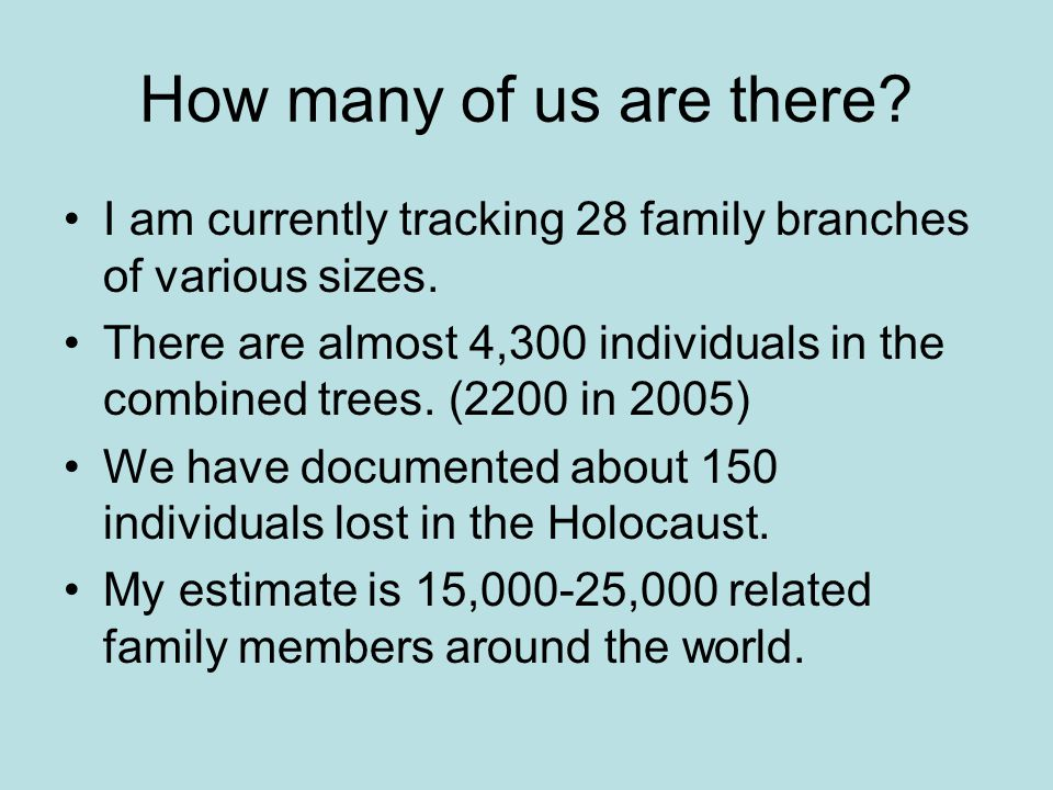 How many of us are there I am currently tracking 28 family branches of various sizes.