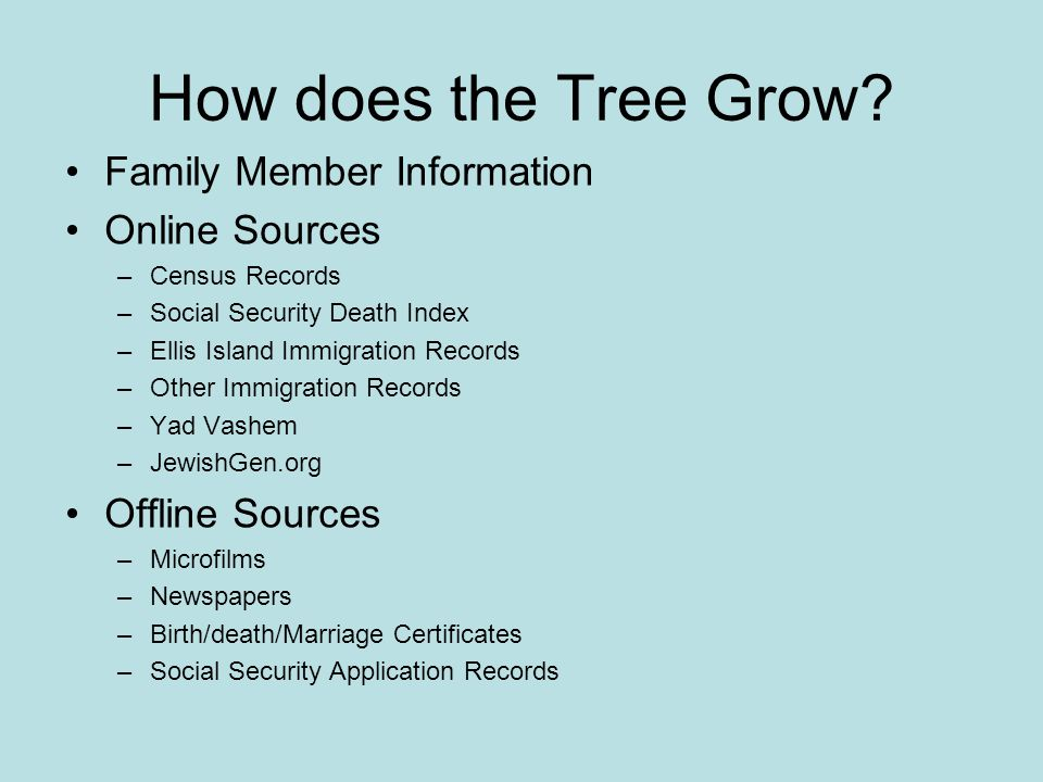 How does the Tree Grow Family Member Information Online Sources