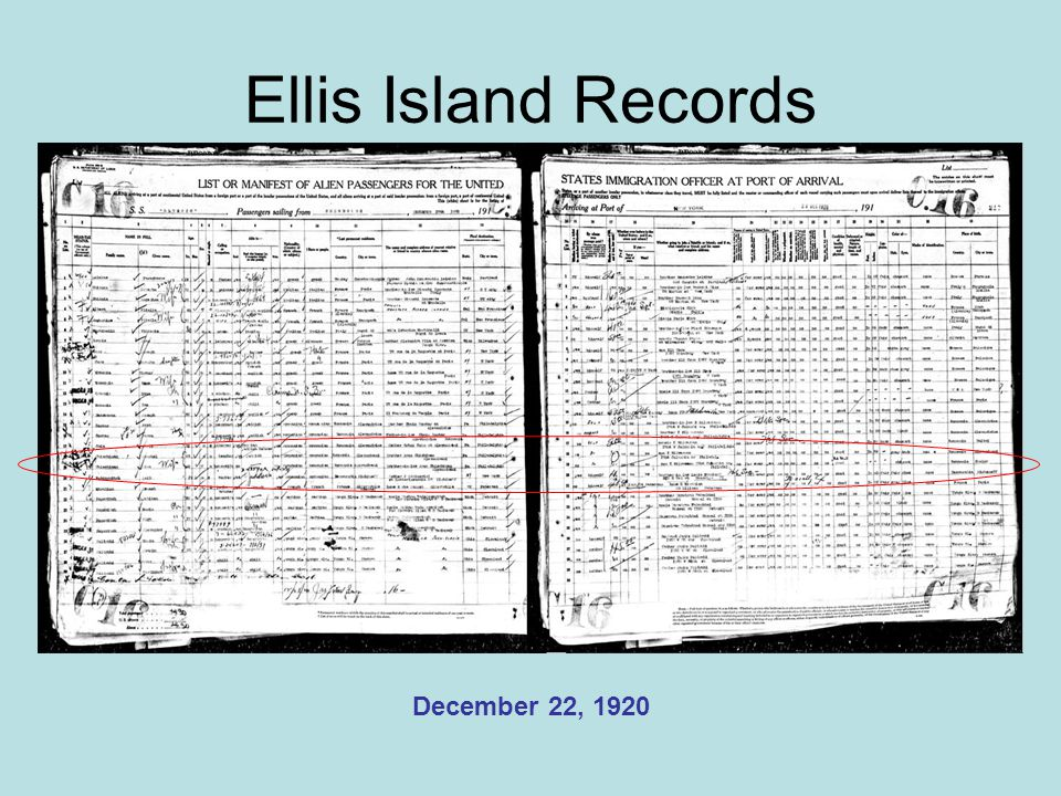 Ellis Island Records December 22, 1920