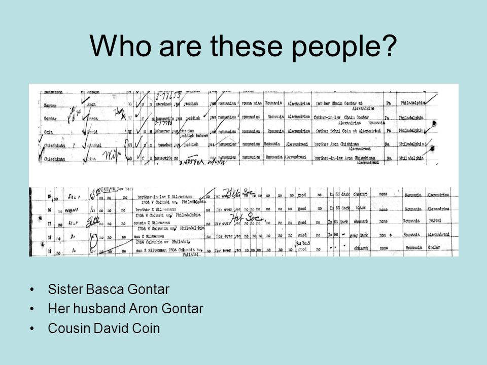 Who are these people Sister Basca Gontar Her husband Aron Gontar