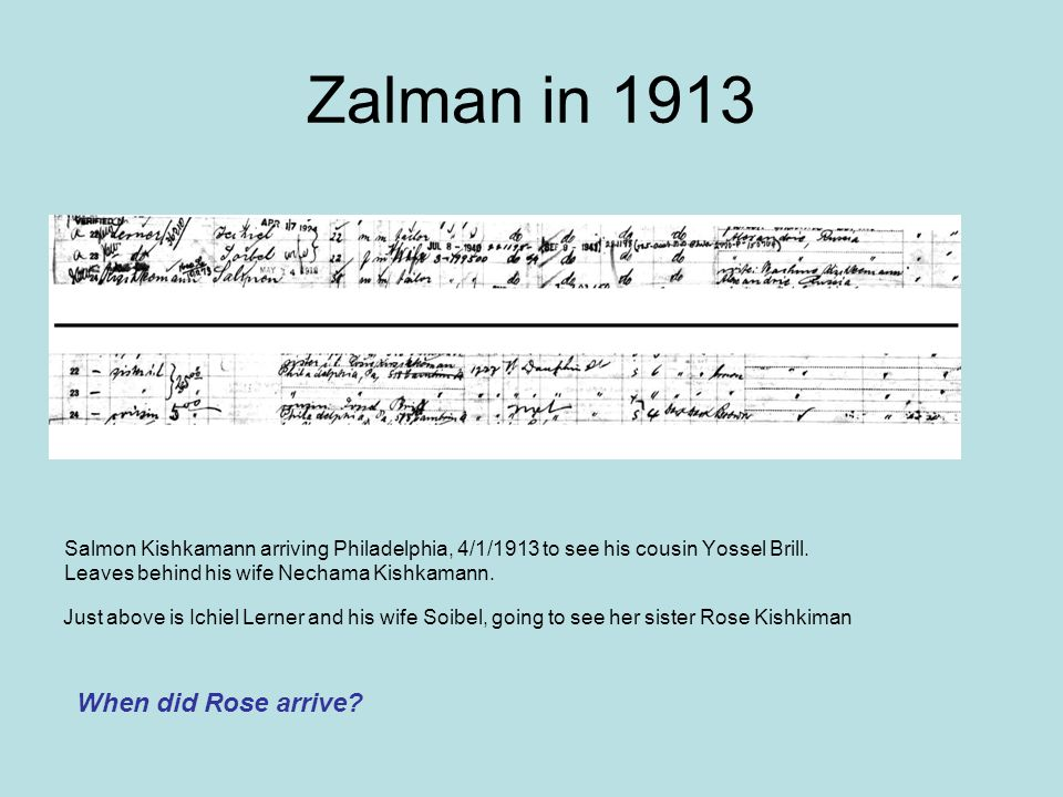 Zalman in 1913 When did Rose arrive