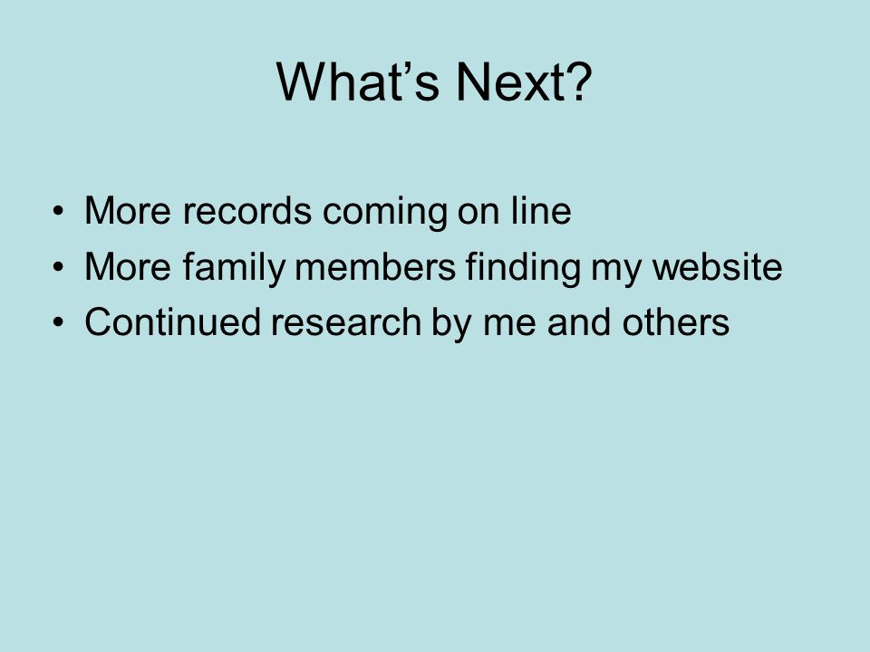 What's Next More records coming on line