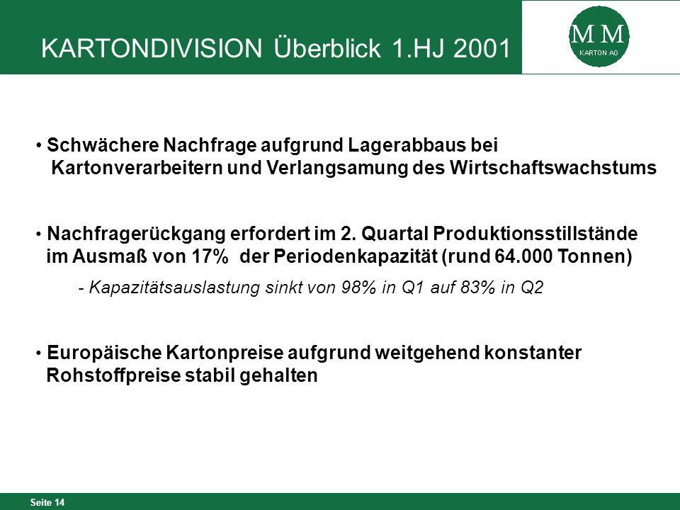 KARTONDIVISION Überblick 1.HJ 2001