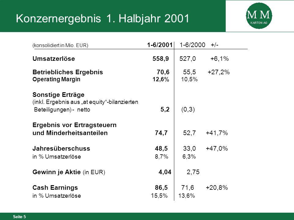 Konzernergebnis 1. Halbjahr 2001
