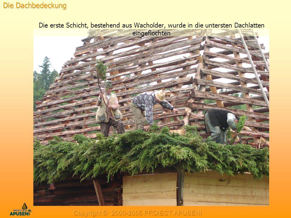 Die Dachbedeckung Die erste Schicht, bestehend aus Wacholder, wurde in die untersten Dachlatten eingeflochten.