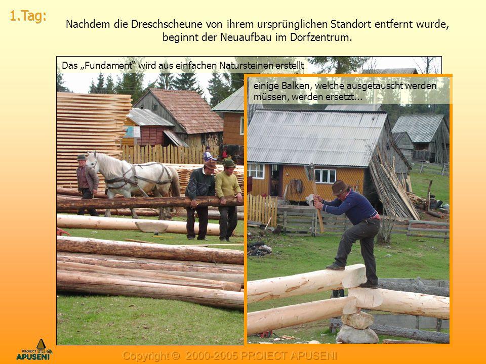 1.Tag: Nachdem die Dreschscheune von ihrem ursprünglichen Standort entfernt wurde, beginnt der Neuaufbau im Dorfzentrum.