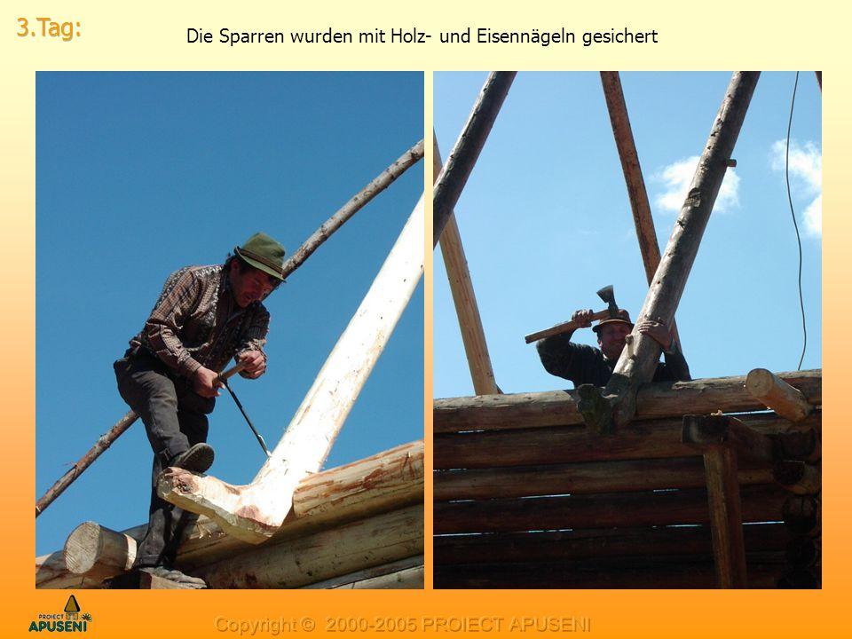 Die Sparren wurden mit Holz- und Eisennägeln gesichert
