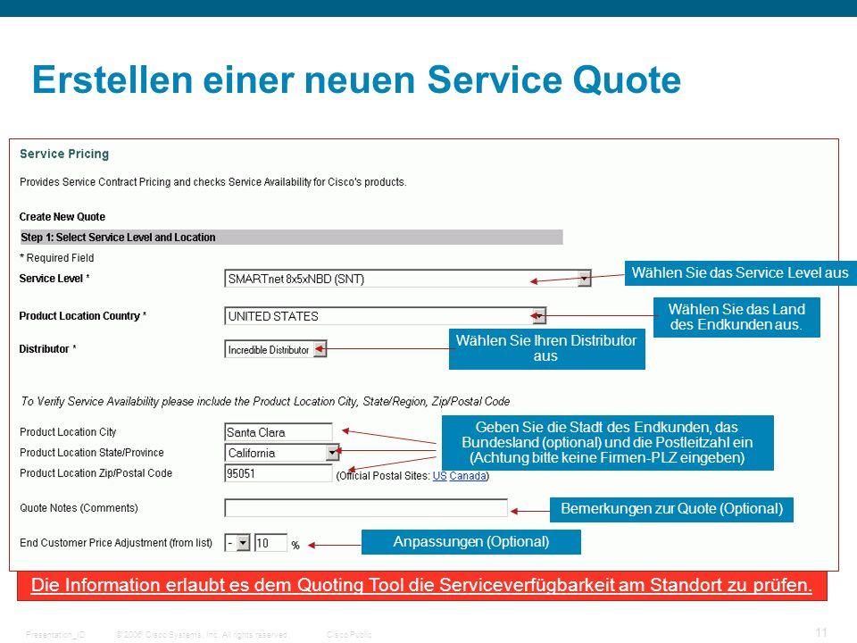 Erstellen einer neuen Service Quote