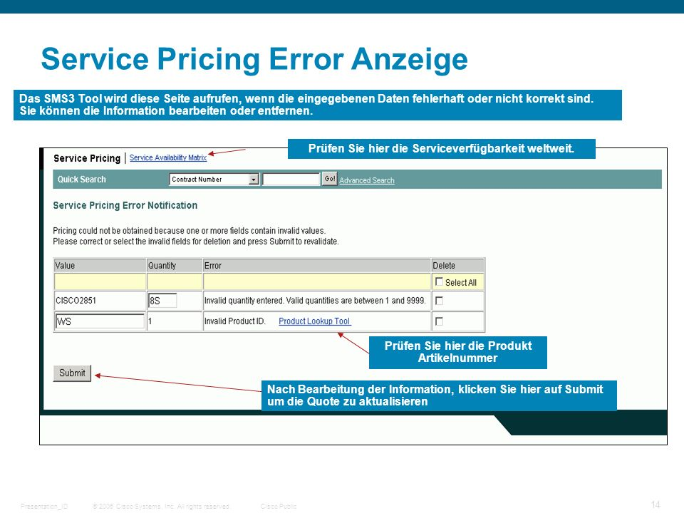 Service Pricing Error Anzeige