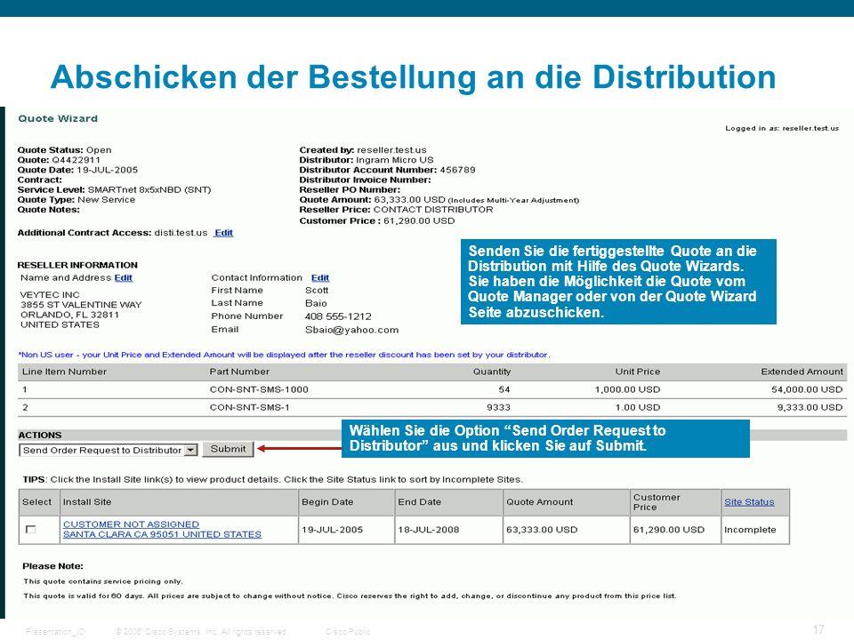 Abschicken der Bestellung an die Distribution