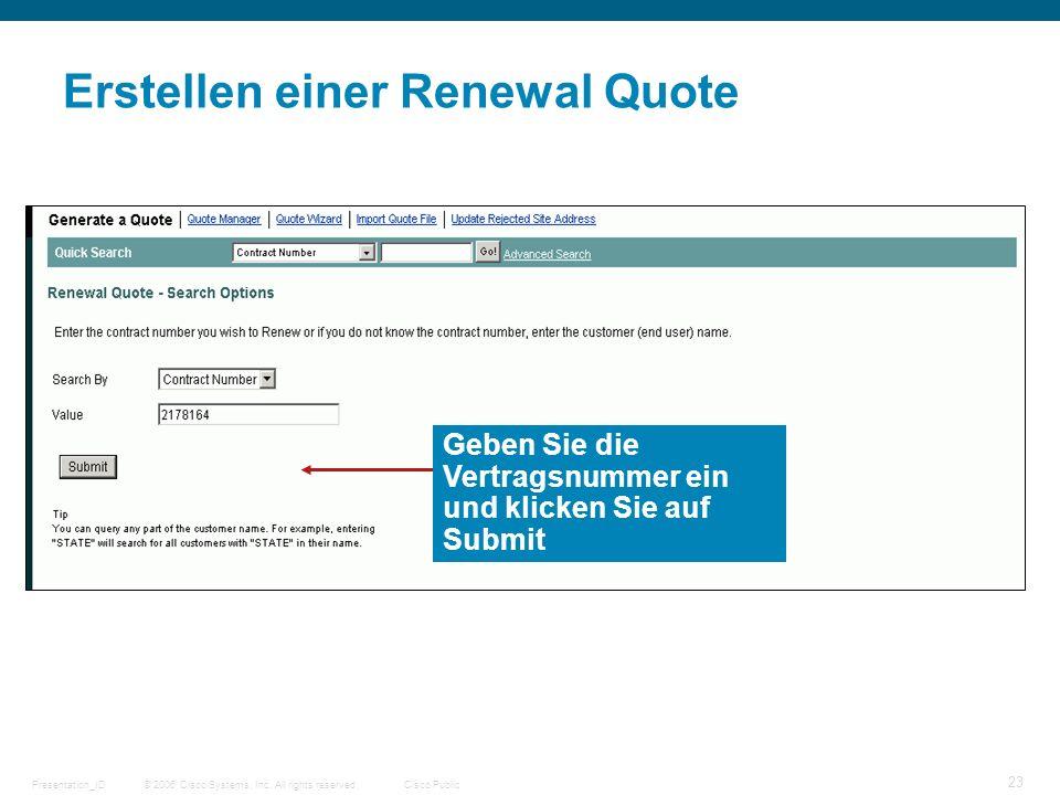 Erstellen einer Renewal Quote