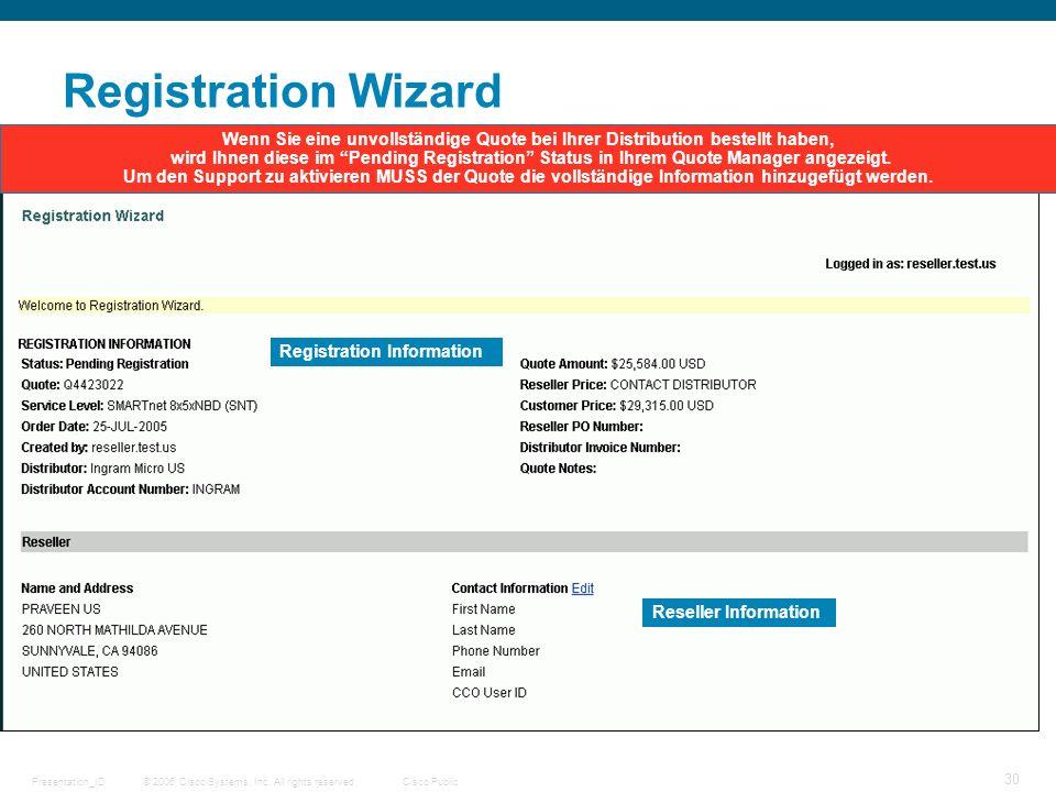 Registration WizardWenn Sie eine unvollständige Quote bei Ihrer Distribution bestellt haben,