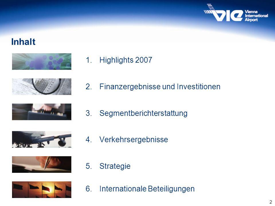 Inhalt 1. Highlights 2007 2. Finanzergebnisse und Investitionen