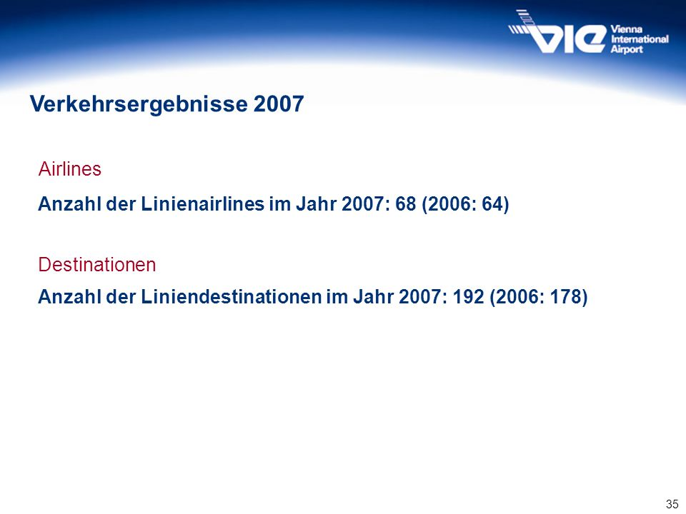 Verkehrsergebnisse 2007 Airlines