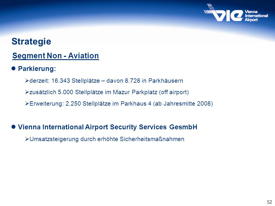 Strategie Segment Non - Aviation Parkierung: