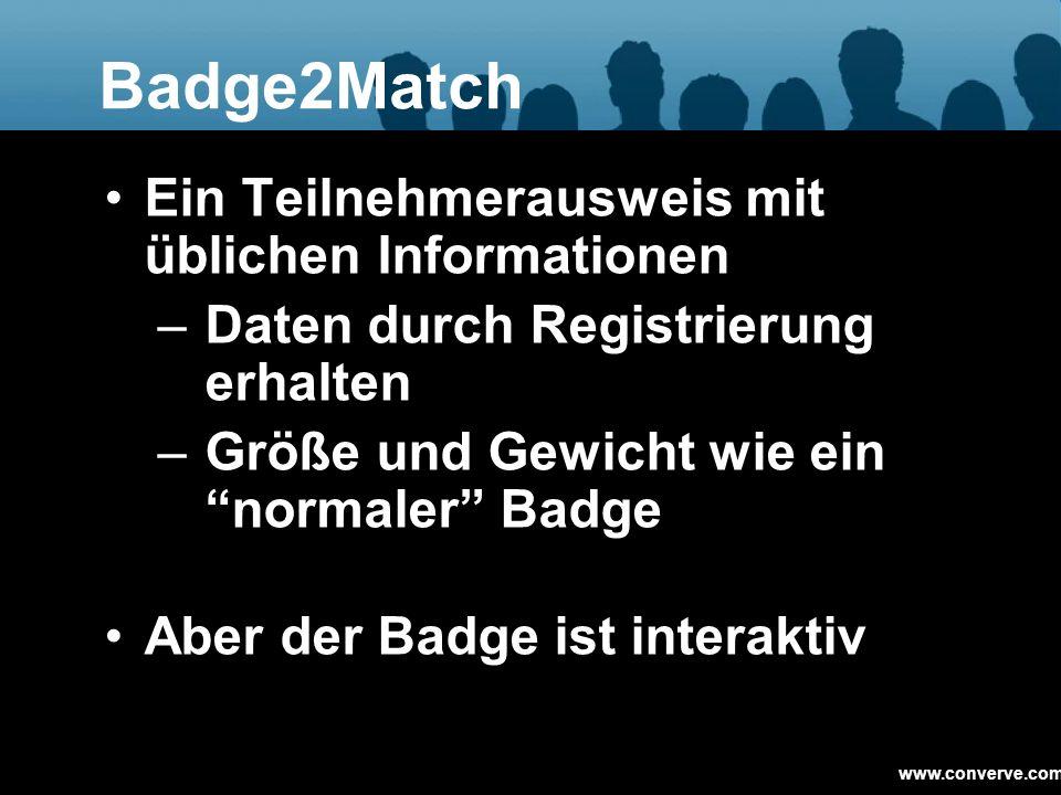 Badge2Match Ein Teilnehmerausweis mit üblichen Informationen