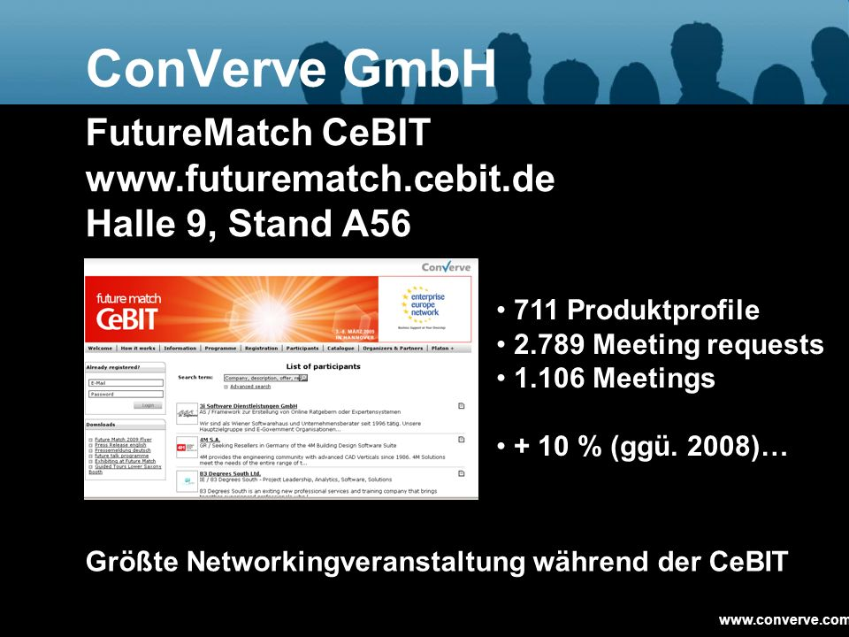 ConVerve GmbH FutureMatch CeBIT www.futurematch.cebit.de Halle 9, Stand A56. 711 Produktprofile. 2.789 Meeting requests.