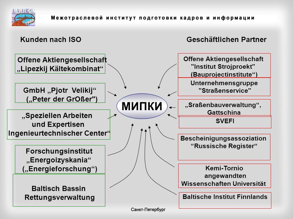 МИПКИ Kunden nach ISO Geschäftlichen Partner Offene Aktiengesellschaft