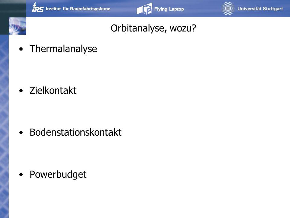 Orbitanalyse, wozu Thermalanalyse Zielkontakt Bodenstationskontakt Powerbudget