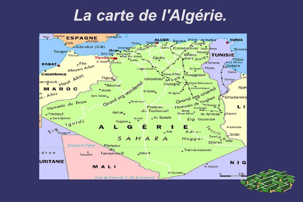 La carte de l Algérie.