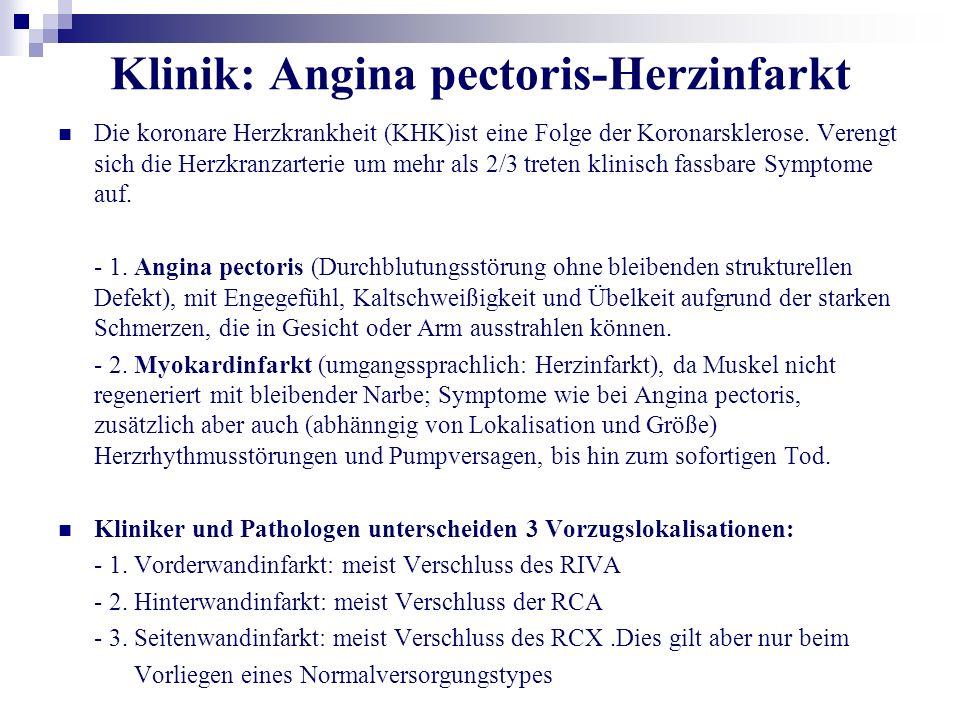 Klinik: Angina pectoris-Herzinfarkt