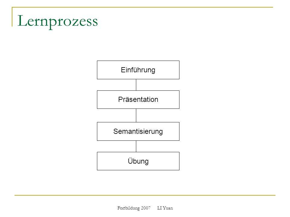 Lernprozess Einführung Präsentation Semantisierung Übung