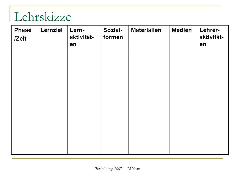 Lehrskizze Phase /Zeit Lernziel Lern-aktivität-en Sozial-formen