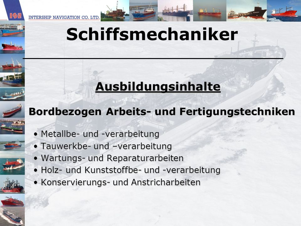 Schiffsmechaniker Ausbildungsinhalte
