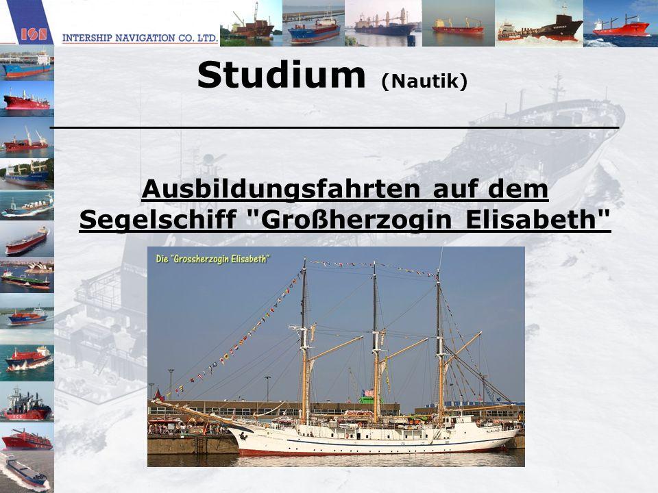 Ausbildungsfahrten auf dem Segelschiff Großherzogin Elisabeth