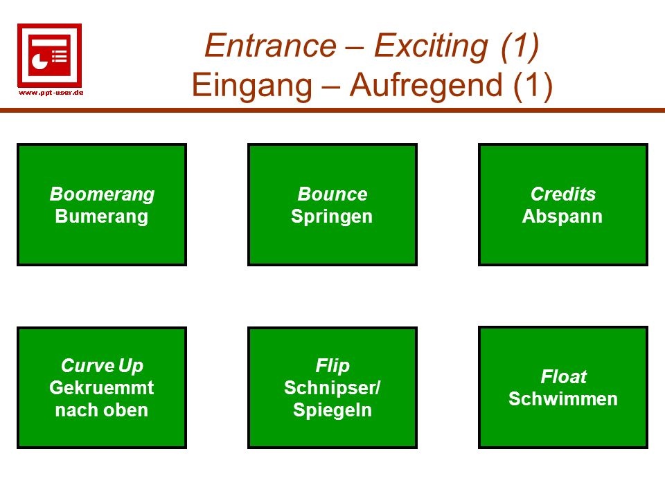 Entrance – Exciting (1) Eingang – Aufregend (1)