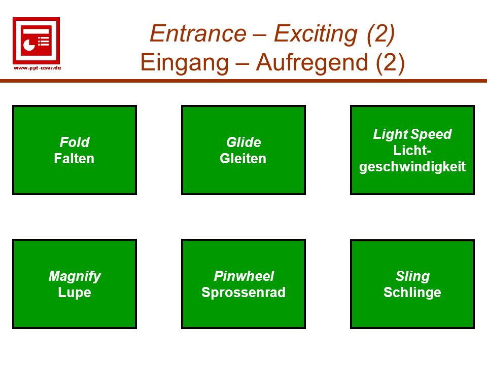 Entrance – Exciting (2) Eingang – Aufregend (2)