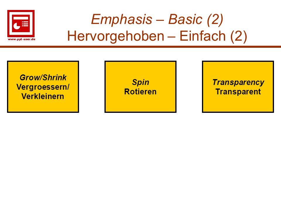 Emphasis – Basic (2) Hervorgehoben – Einfach (2)